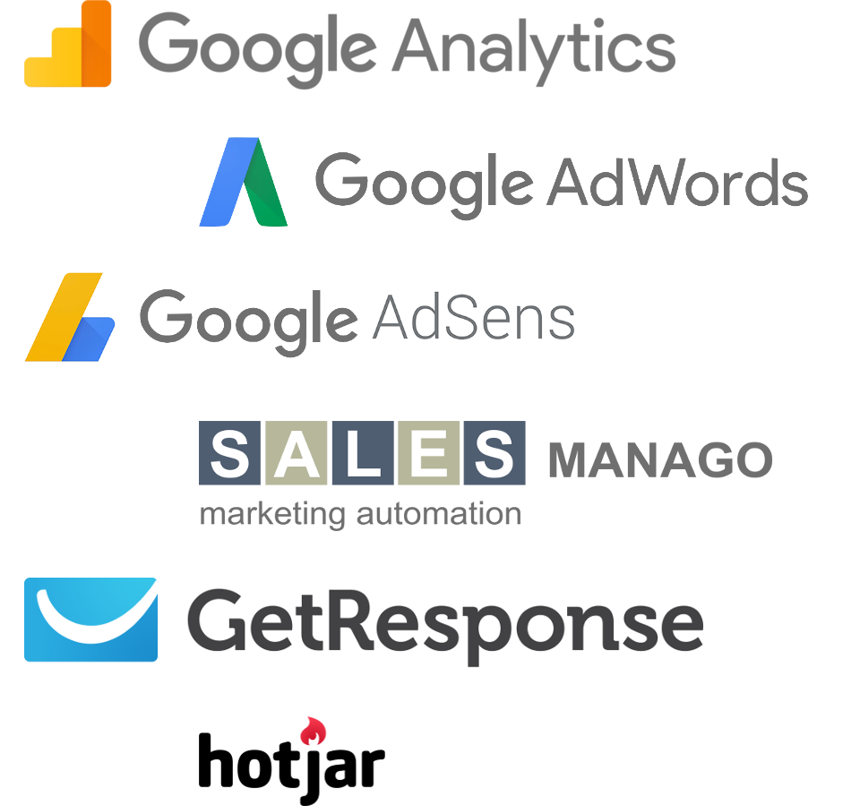 Analytics, AdWords, AdSense, SalesManago, GetResponse